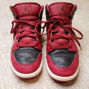 Nike Air Jordan 1 Mid GS Red Black Hightop